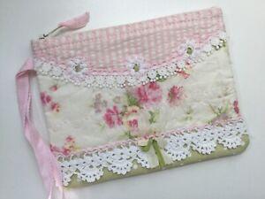 Bitty Handmade zip pouch Pretty Yuwa Rose w some vintage lace VERY pretty!