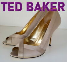 "Fabulous ""TED BAKER""  Satin  Leather Peep- Toes  Court Shoes UK  5 EU 38 £129"