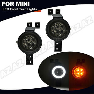 For MINI Cooper R50 R52 R53 Smoked LED Halo Corner Amber Signal Light Assembly