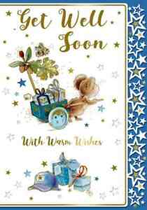 """Cute Mouse With Presents & Stars """"GET WELL SOON"""" Card"""