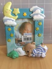 Burnes Ceramic Handpainted childrens picture frame Teddy Moon Clouds for 2x3 pic