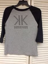 Kardashian Kollection Baseball Tee, Heather Gray/Charcoal, Sz. XS, NWT
