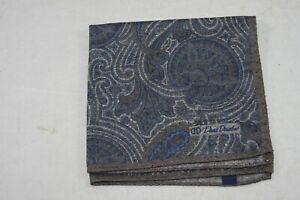 David Donahue Men's Blue Brown Paisley Silk Blend Pocket Square