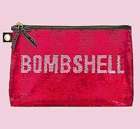 New Victoria's Secret Pink Sequin Bombshell & Stripes Large Cosmetic Bag Case