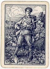 Playing Cards 1 Swap Card Antique Wide WW1 Allied Army SOLDIERS + RIFLE Military
