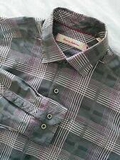 Tommy Bahama Slim Fit Long Sleeve Silk Blend Button Down Plaid Check Shirt Sz M