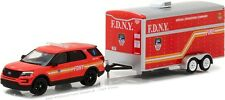 Greenlight 1/64 FDNY New York City Fire SUV & Trailer Hitch & Tow Set 32100