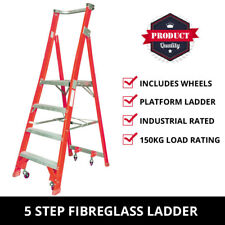 5 Step Fibreglass Platform Ladder + Wheels 1.5M-2.35M Industrial Rated 150kg