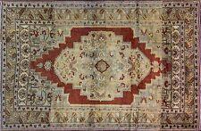 Semi Antique Turkish Ushak hand made Oriental Rug, red yellow colors, 6-5x9-11