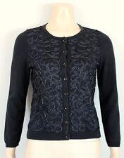 Anthropologie HWR Monogram Black Ribbon Swirl Cardigan Sweater, Fits XS FADED