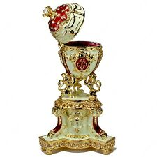 5'' ROYAL DANISH EASTER ENAMELED RED EGG TRINKET BOX RUSSIAN FABERGE TRADITIONS