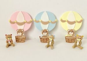 Bear Cake Topper And Hot Air Balloon Baby Shower,Party,Set.
