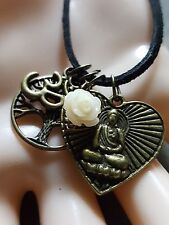 Good Karma Antique Gold Tree of Life Om Rose Love Buddha Heart Peace Necklace