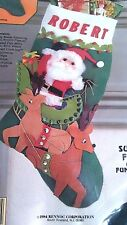 1984 Rennoc's Holiday Heirlooms CHRISTMAS Stocking Kit SANTA'S SLEIGH