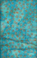 Princess Mirah Batik UR-3-2024 Orange Curly Cues on Turquoise & Aqua - 1/2 yd