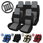Universal Car Front  Back Seat Covers w/Steering Wheel Cover and Belt Pads Set