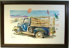 Nana's Truck by Bill Crowley original on canvas framed, pink balloon & flag