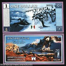 ANTARCTICA 1 DOLLAR NEW 1999 PENGUIN UNC FUN CURRENCY MONEY USA CANADA BILL NOTE