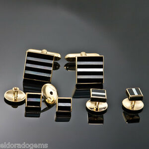 DEAKIN & FRANCIS MOTHER OF PEARL ONYX CUFFLINKS 4 SHIRT STUD SET 18K YELLOW GOLD