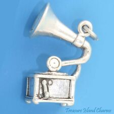 PHONOGRAPH MUSIC RECORD PLAYER GRAMOPHONE 3D .925 Sterling Silver Charm Pendant