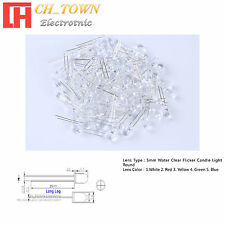3 5 mm Water Clear Flicker Flicking White Red Blue Green Candle Light LED Diodes