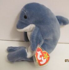 TY BEANIE BABY ECHO THE DOLPHIN WITH WAVES TAGS-  13 ERRORS - PVC PELLETS -