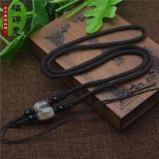 Circle string cord rope pendant A239 Natural Wood Sardonyx agate Jade bead Brown