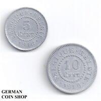 Set 5 & 10 Cent Centimes Zink 1916 - Deutsche Besatzung 1. WK Belgien Belgique