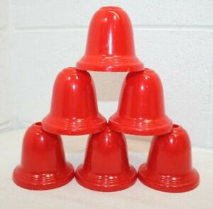 """Lot of 6! Vintage Red Plastic Bell Christmas Light Covers Shades 3"""" x 3.5"""""""