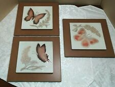Set of 3 Vintage Carved Metal Corporation Butterfly Wall Plaques Pictures Decor