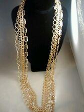 Stunning statement runway RJ Graziano 5 strands gold tone chain necklace 40 inch