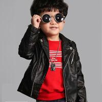 Kids Baby Girls Pu Leather Jacket Zipper Coat Especially 2-5 years Old Coat Hot