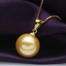 Fashion 16MM Natural Yellow Akoya Shell Pearl Gold Plated Pendant Necklace 17''