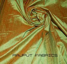 100% Natural Silk Dupioni Fabric Green Orange Seaweed Iridescent * BY THE YARD *