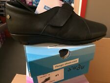 Ladies Black Soft Leather Shoes Size 8