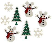 Disney Mickey Mouse Snowmen Jesse James Dres it Up Buttons -Christmas
