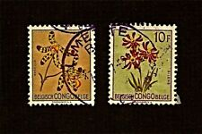 BELGIAN CONGO, 1-1952 and 1-1953 FLOWER Stamps, Used, See Descr   FUS556