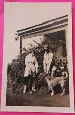 Vintage 1914 Photo of a Man & Woman with their Black Doberman Pincher DOG & ?