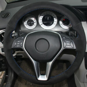Hand-stitched Black suede Steering Car Wheel Cover for Mercedes Benz B180 2012
