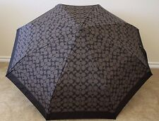 COACH Signature Retractable Umbrella F63364, Black Grey/Black