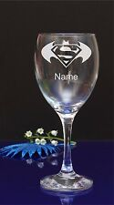 Personalised SUPERMAN vs BATMAN Engraved WINE Glass/Birthday present/gift 47
