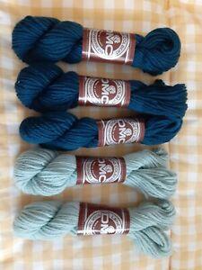 DMC Laine Colbert Wool Tapestry Yarn 20g Lot 5 Skeins Blue #7297 & Green #7322