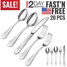 Silverware Cutlery Set 20 pcs Stainless Steel Flatware Set Spoon Knife Fork Set