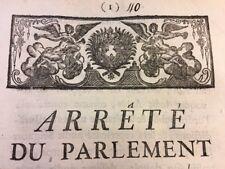 PARLIAMENT'S ORDER LOUIS XV 1756