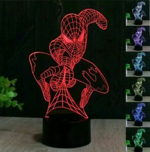 3D LED illusion Spiderman USB 7Color Table Night Light Lamp Bedroom Child Gift