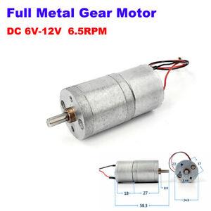 25MM DC 6V-12V 6.5RPM Slow Speed Micro Full Metal Gear Motor Large Torque Robot