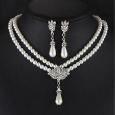 Perle Cristal Honneur Bijoux Mariage Fête Set Collier Boucles D'Oreilles