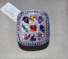 Unikat-Designer-Ring mit 7 bunten Saphiren voll mit Brillanten