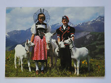 VINTAGE SWISS SWITZERLAND NATIONAL DRESS OLD USED POSTCARD COLLECTORS 1985