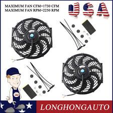 "2 X 12"" inch Radiator Engine Cooling Fan w/ Mount Kit Universal Slim Pull & Push"